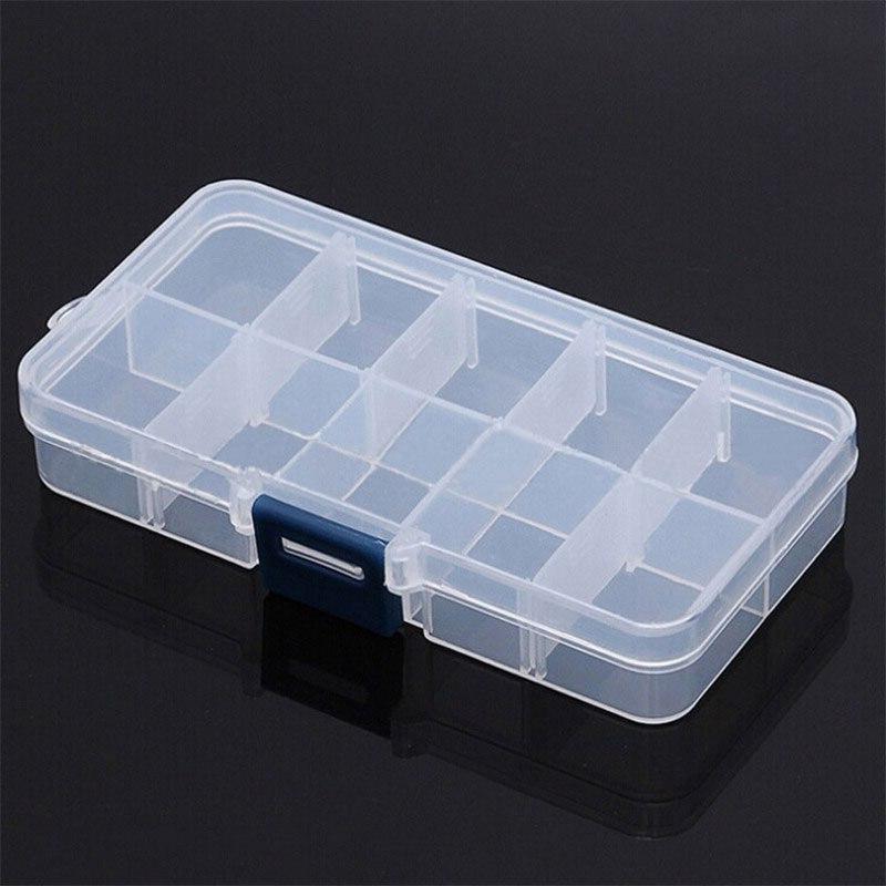 10 grids compartments plastic transparent organizer jewel