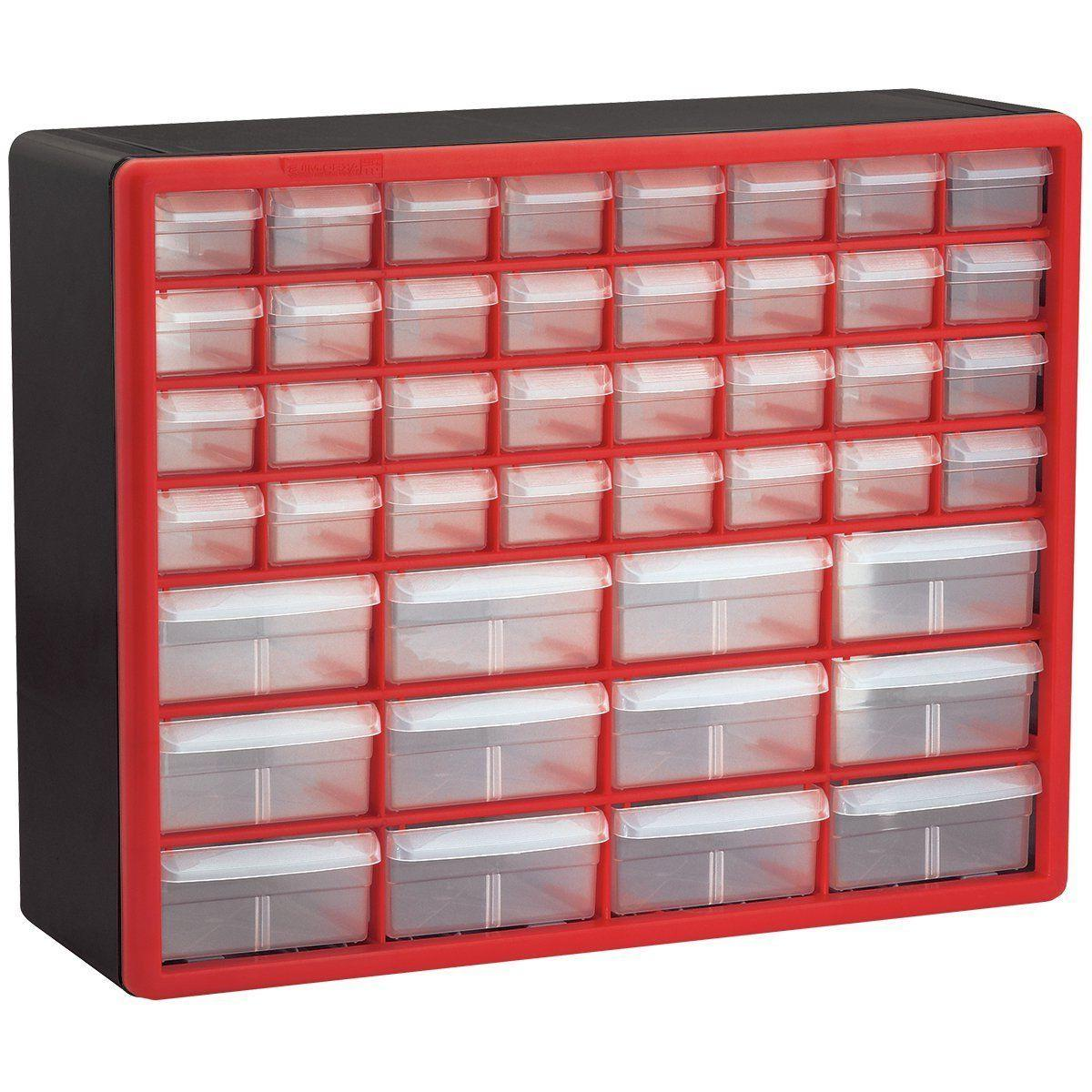 Akro-Mils 10144REDBLK 44-Drawer & Plastic Red & Black