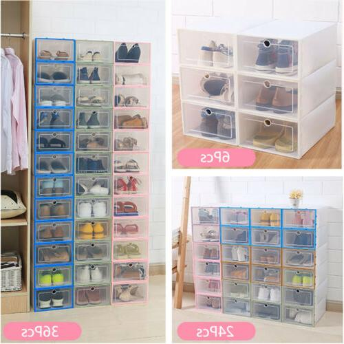 12/24pcs Plastic Shoe Organizer Stackable