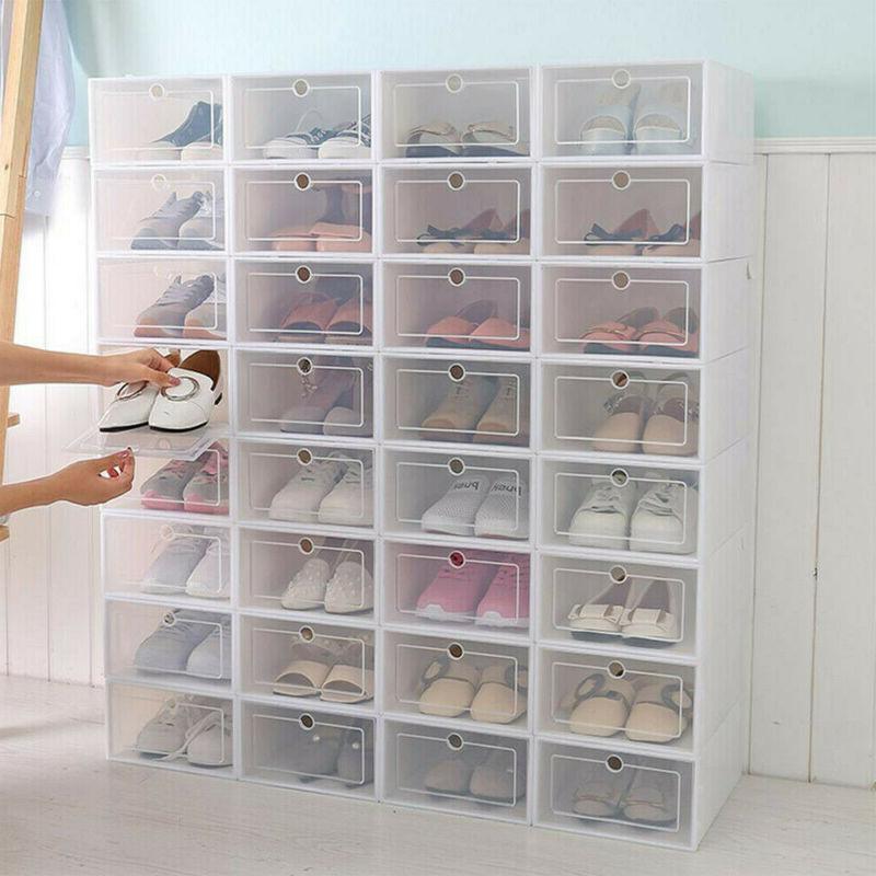 12/36Pcs Foldable Shoe Box Storage Plastic Transparent Case
