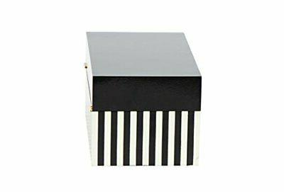 "Deco 79 14"" Modern Rectangular Striped Wooden with Lid (Set of"