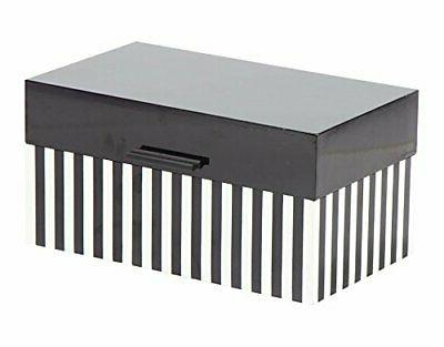 "Deco 14"" Modern Striped Wooden Boxes Lid (Set"