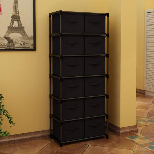 12 Drawers Shelf Unit with 12 Non-woven Bins Black