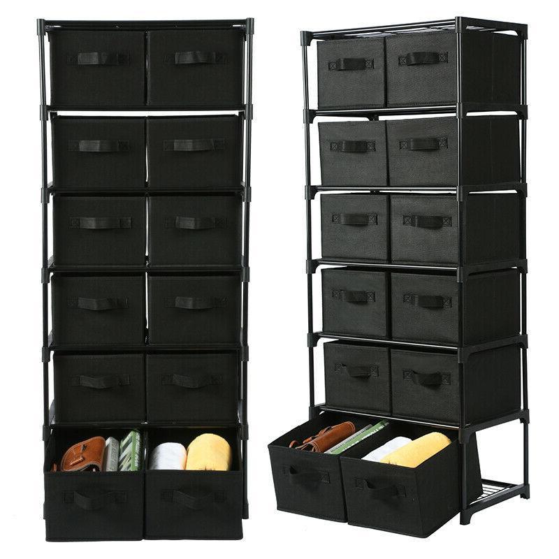 12 drawers storage shelf unit with 12