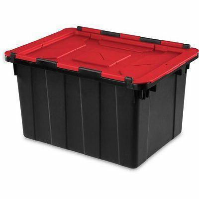 Sterilite 12 Gallon Hinged Lid Industrial Tote- Black, Ca W