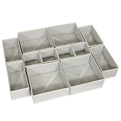 12 Pack Foldable Cloth Storage Drawer Organizer