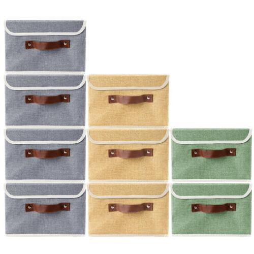 12 Storage Bins Stackable Linen Fabric Boxes Cube Baskets Co