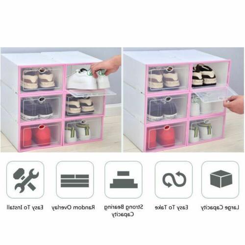 12Pcs Shoe Box Storage Plastic Transparent Stackable