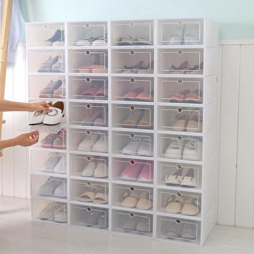 12 24pcs foldable plastic transparent shoe box