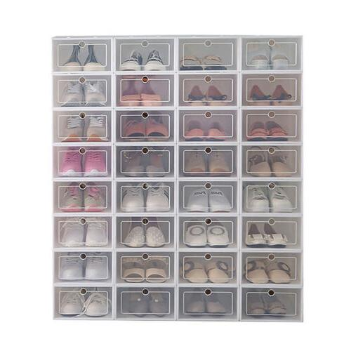 12/24pcs Plastic Shoe Storage Clear Organizer