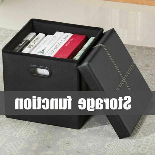 "15"" Folding Ottoman Bench Box Lounge Leather"