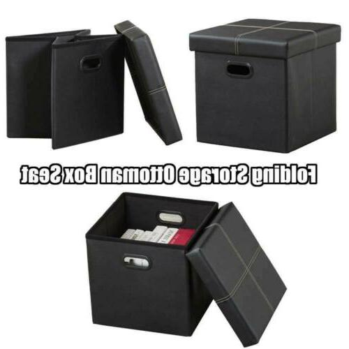 "15"" Ottoman Bench Box Lounge Foot Black Leather"