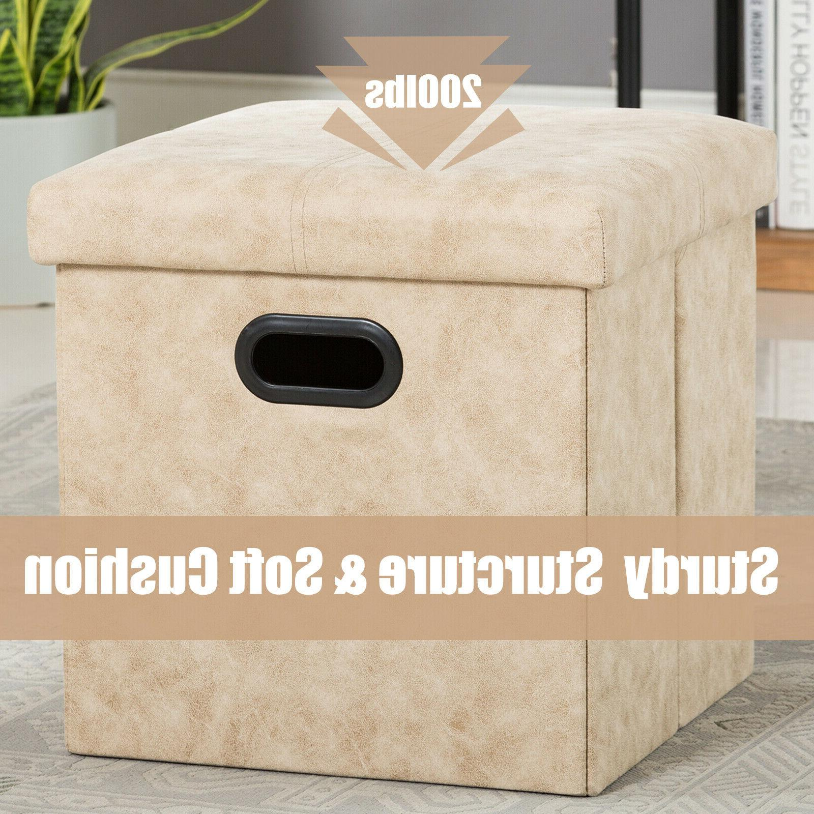 "15"" Storage Folding Toy Chest Ottomans Seat Bench Foot Rest Stool"