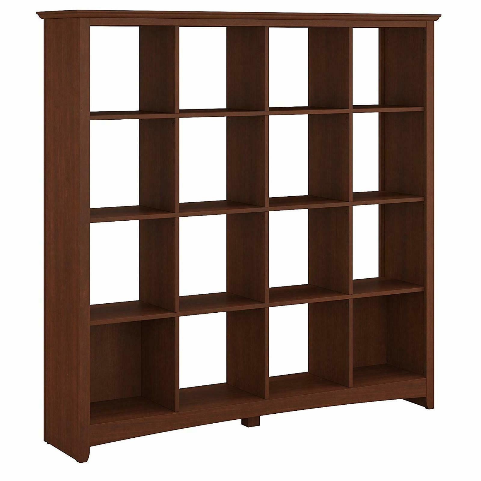 16 cube wood bookshelf serene cherry storage