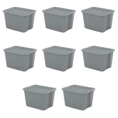 18 Gallon Tote Box Case 8 Bin Lid Container Stackable Gal