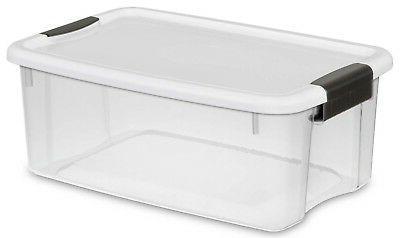 Sterilite Quart Latch White Lid & Base,18 Pack