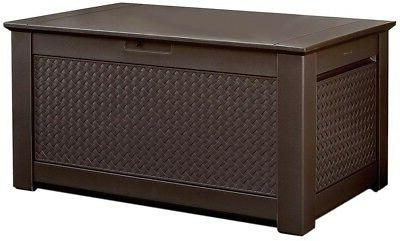 Fantastic Rubbermaid 1859930 Outdoor Deck Box Storage Bench With Dark Teak Basket Weave Design Gmtry Best Dining Table And Chair Ideas Images Gmtryco