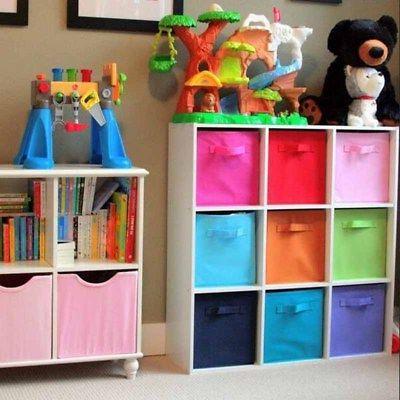 2-6PK Square Storage Box Toys Clothes Bins