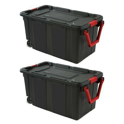 2 Case Of Large Storage Box Container Wheeled Tote Plastic 4