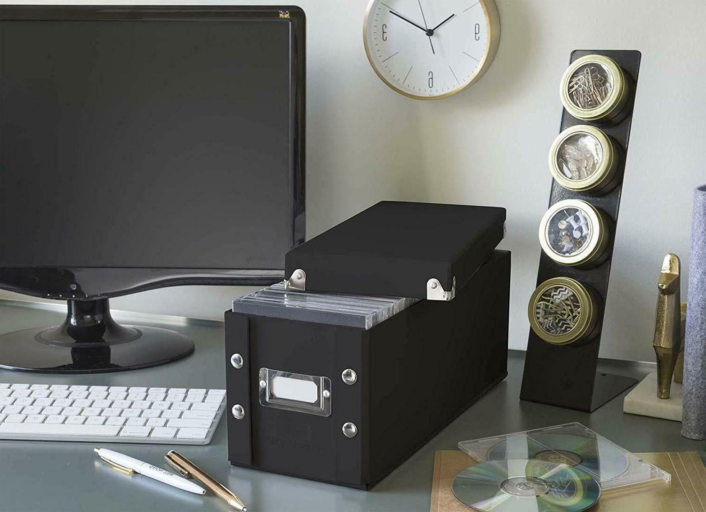 2 CD Box Disk Media Display Store Organizer Black