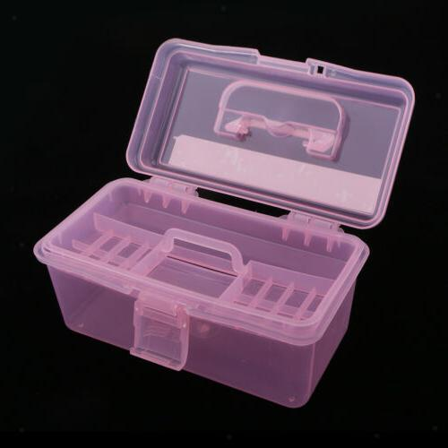 2 Clear Plastic Box Case w Tray for Craft kit