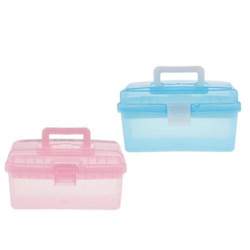 2 clear plastic storage box case w