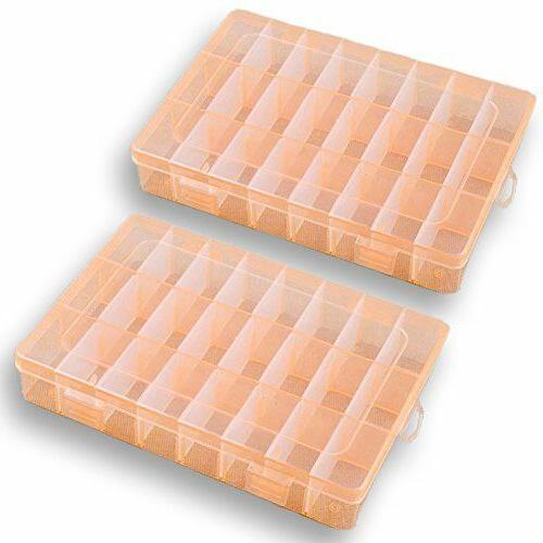 2 Pack Plastic Storage Box Jewelry Earring