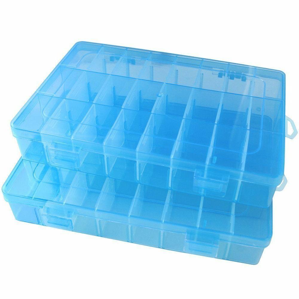 2 Pack 24 Plastic Storage Box Jewelry Earring
