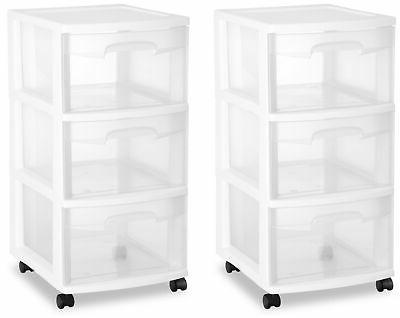 2 pack cart 3 drawer storage boxes