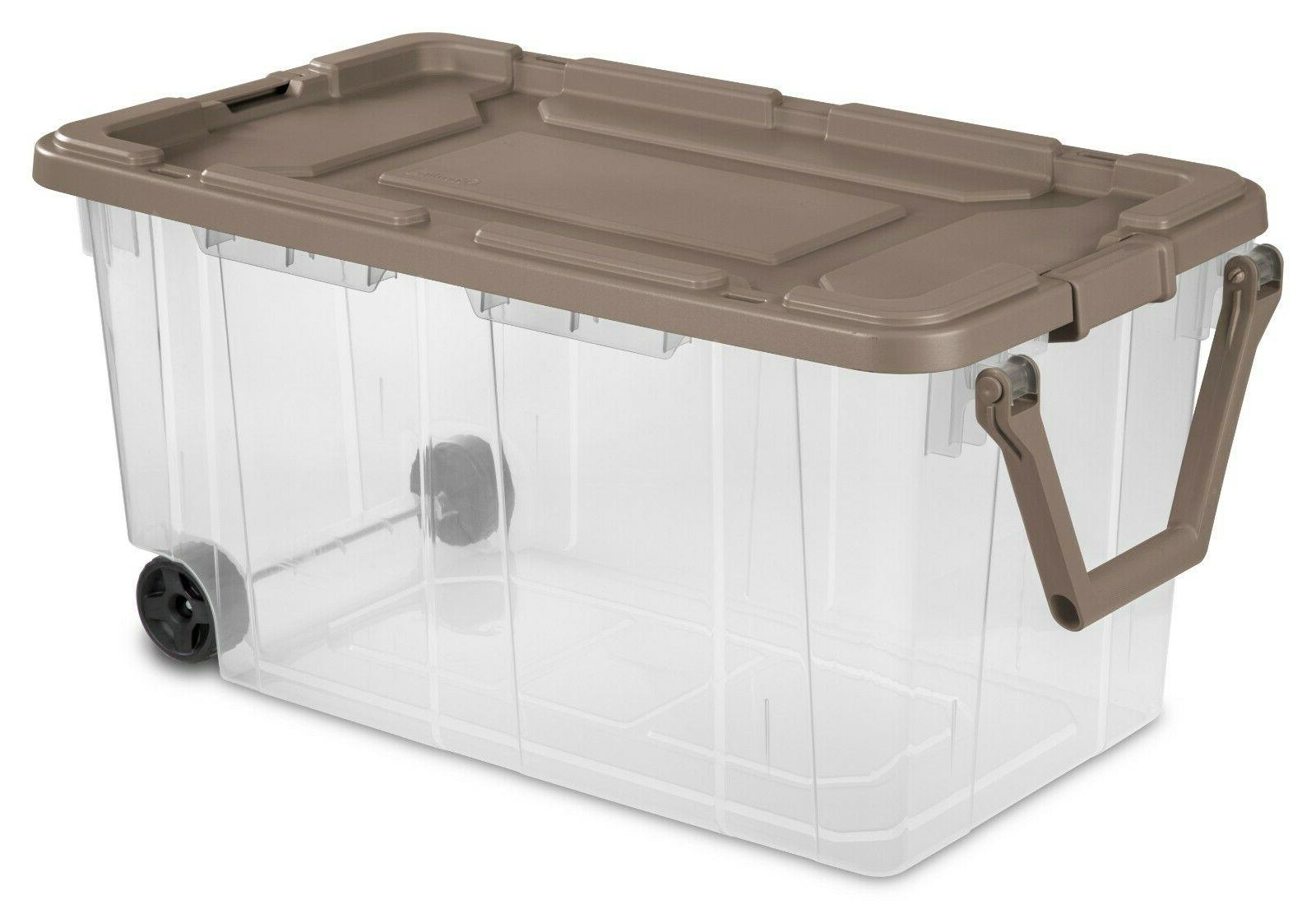 Tote Storage Box Set 2 Wheeled Latch Large Containers 40 Gal
