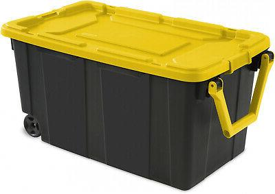 2 PACK Sterilite Tote Storage Box 40 Wheels