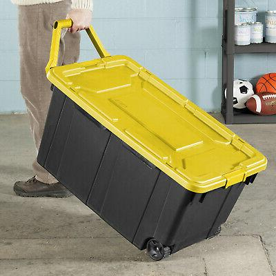 2 PACK Sterilite Tote Storage 40 Wheels