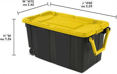 2 PACK Sterilite Latch Tote Storage Wheeled 40 Gallon Container Wheels
