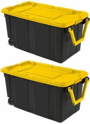2 pack latch tote storage box wheeled