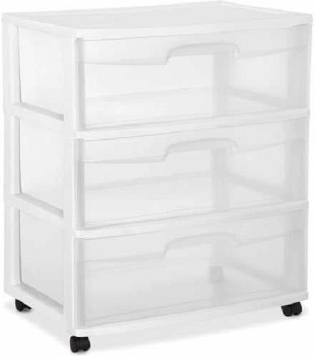 2 packs 3 drawer wide cart storage