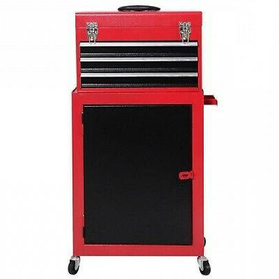 2 Piece Tool Chest And Cabinet Box Rolling Garage Toolbox Organizer