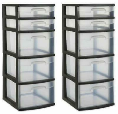 2 Pieces 5 Drawer Storage Tower Organizer Box Home Room Clea