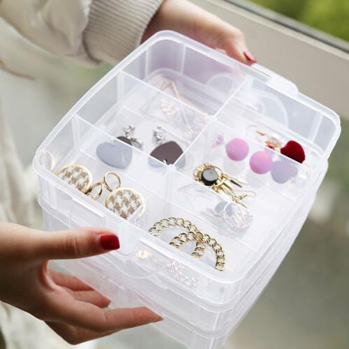 2 Tray Organizer Storage Jewelry Holder Box