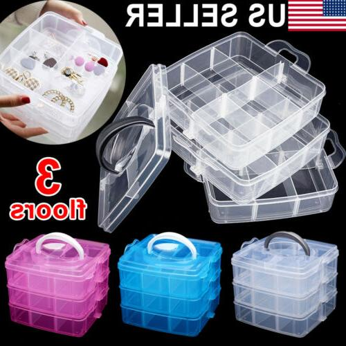 2 tray plastic organizer storage jewelry case