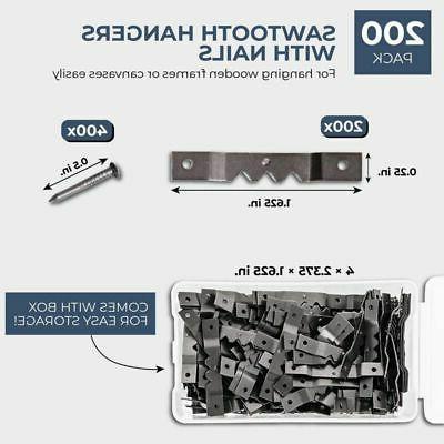 """200x Metal Sawtooth Frame Screws+Storage 1.625x0.25"""""""