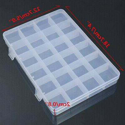 24 Compartments Jewelry Container Craft Organizer USA