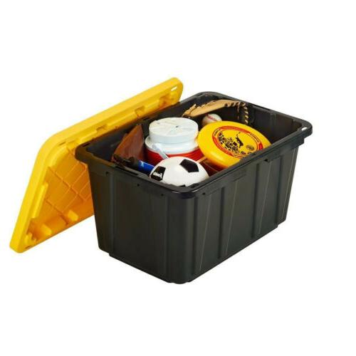 27 GAL TOTE STORAGE BOX Stackable Heavy Duty Container Bin O