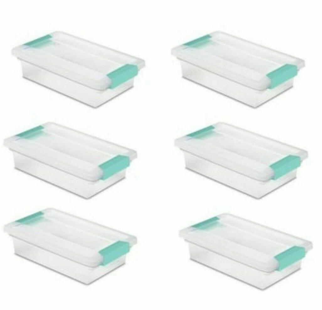 Sterilite 16598008 Lidded 56 Quart Clear Bin Home Storage Box Totes Container 8
