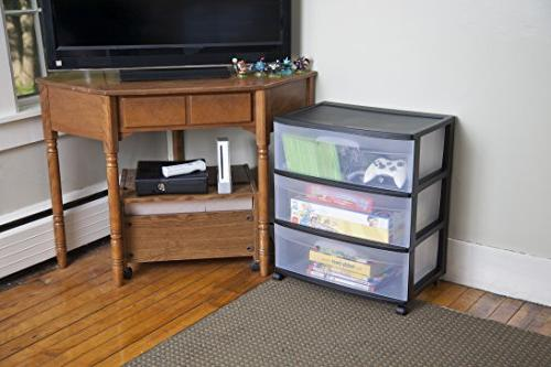 Drawer Cart, Black with Clear Black