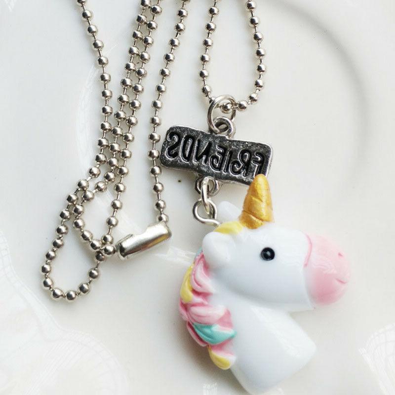 2Pcs/Set Unicorn Necklaces For Children Birthday Gift