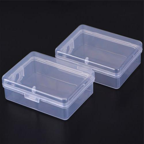 2x small transparent plastic storage box clear