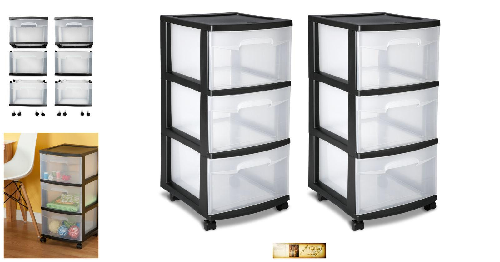 3 drawer organize storage cabinet set plastic