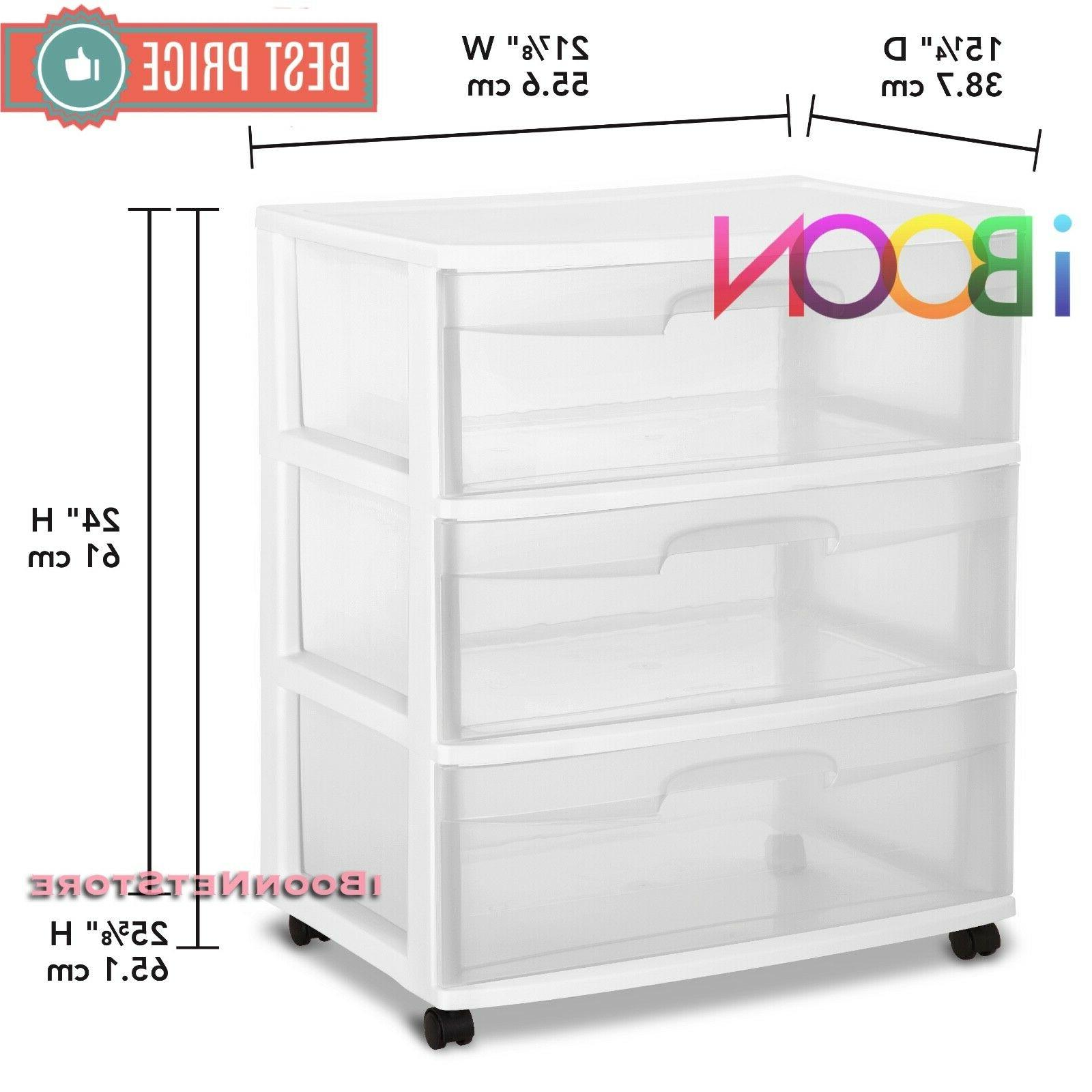 3 DRAWER PLASTIC Organizer 3 Rolling Wide Container