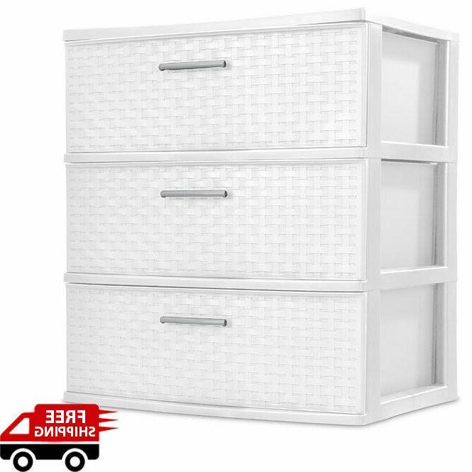 3 drawer storage wide tower white organizer