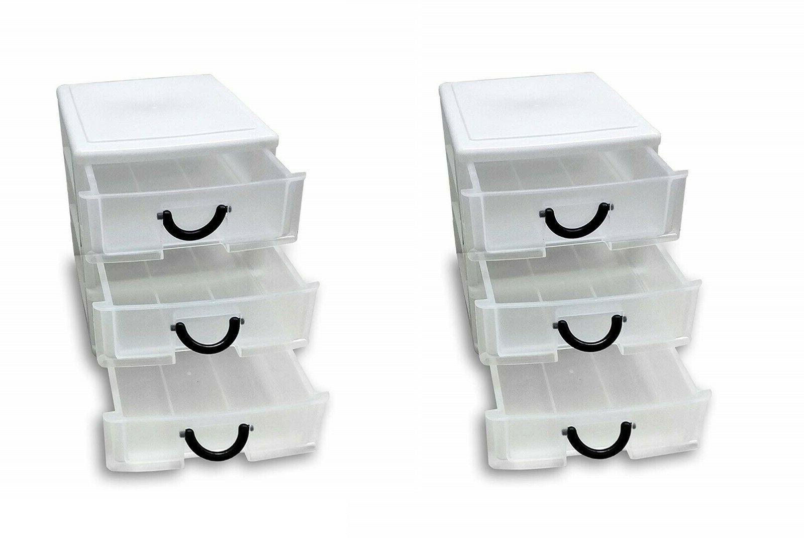 3 drawer tower plastic organizer set of